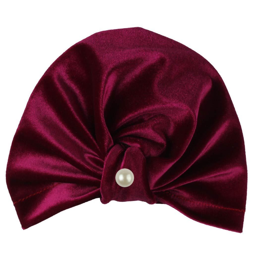 MALLOOM Newborn Baby Boy Girl Pearls Pleuche Knotted Hat Beanie Cap Headwear Hot Pink