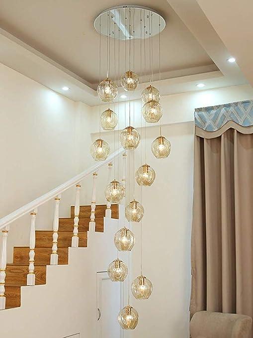 15 Bolas de cristal de la lámpara pendiente larga escalera Duplex Luz edificio grande que la lámpara de la sala de estar minimalista moderna Villa hueco de escalera de la lámpara,60x300cm: Amazon.es: