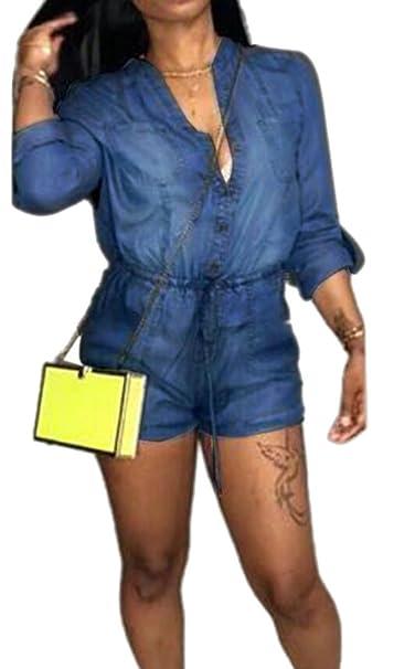 8cf40db4b12 Amazon.com  Domple Women s Casual Button Down Cuffed Elastic Waist Denim  Short Jumpsuits Rompers  Clothing