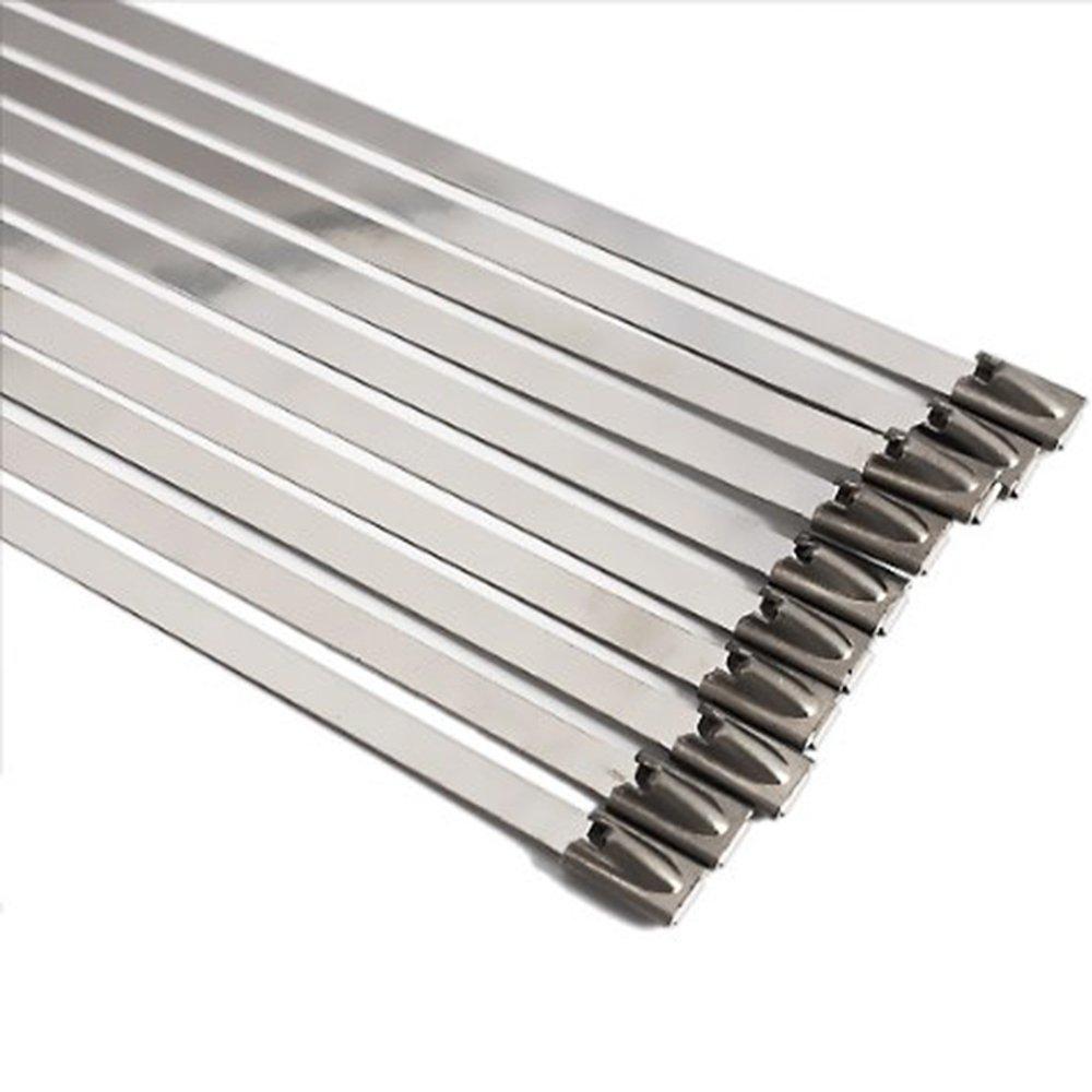Lot de 10 serre-câ bles SS304 et SS3016 - en acier inoxydable - ré sistants - extra longs et extra larges, argent Wenzhou Shiyun Electronic Co Ltd