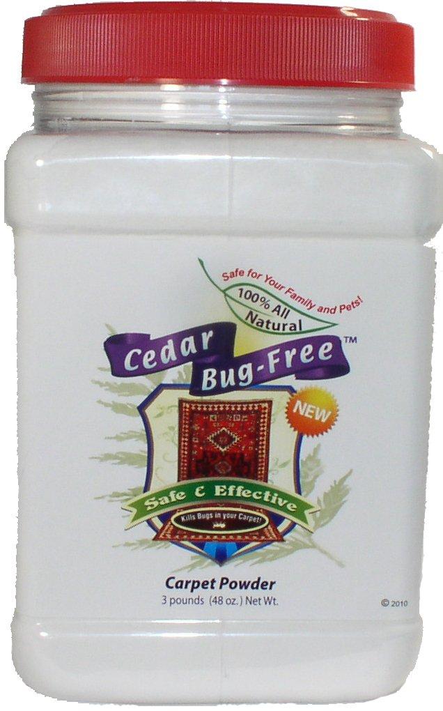 Flea Powder for Carpets - Cedar Bug-Free Carpet Powder Kills Fleas, Ticks and Bed Bugs - 3 pounds by Cedar Bug-Free
