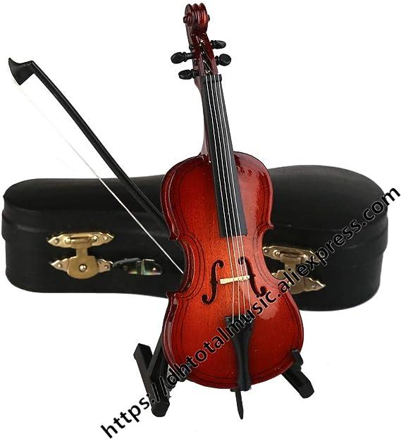 Ochoos - Mini Modelo de Violonchelo con Soporte y Estuche en Miniatura de Violonchelo Instrumento Musical réplica de Adornos decoración del hogar Regalo: Amazon.es: Hogar