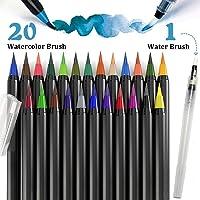 Tfheey Brand Plumas de acuarela, Rotuladores Pincel 20 Rotuladores Acuarelables y 1 Pincel de Agua para Colorear Dibujar Cómic Caligrafía Diseño de Letras (20+1 Colores)