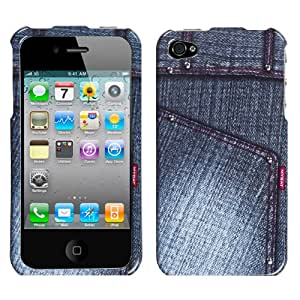 Fits Apple iPhone 4 4S Hard Plastic Snap on Cover Black Jean with Studs AT&T, Verizon (does NOT fit Apple iPhone or iPhone 3G/3GS or iPhone 5)
