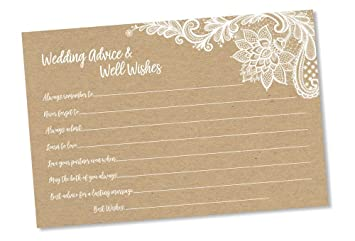 wedding advice and well wishes rustic kraft lace 50 cards reception wishing
