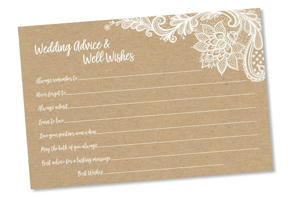 Wedding Advice and Well Wishes - Rustic Kraft Lace (50-cards) Reception Wishing Guest Book Alternative, Bridal Shower Games Note Card Marriage Best Advice Bride To Be or For Mr & Mrs