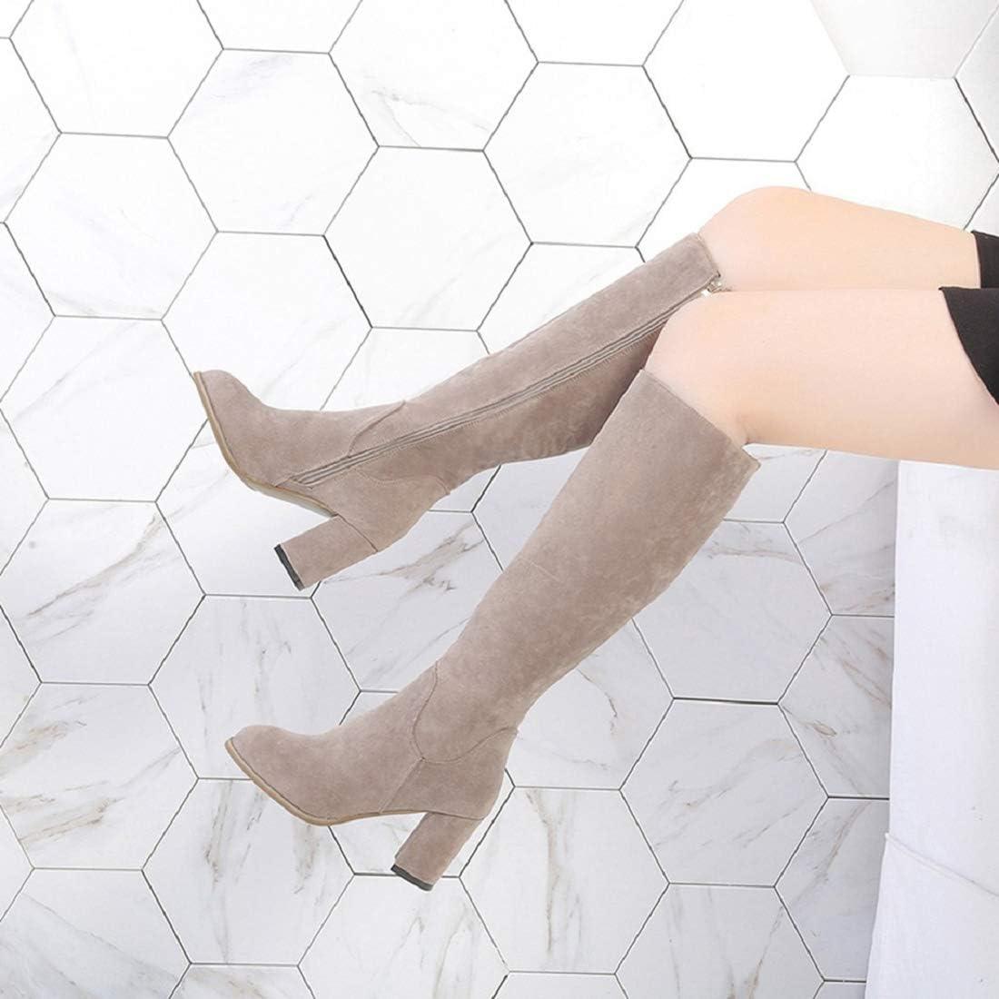 Women/'s Faux Suede Knee-High Boots Casaul Zipper Warm Slouchy Block Heel Boots Winter Long Boots