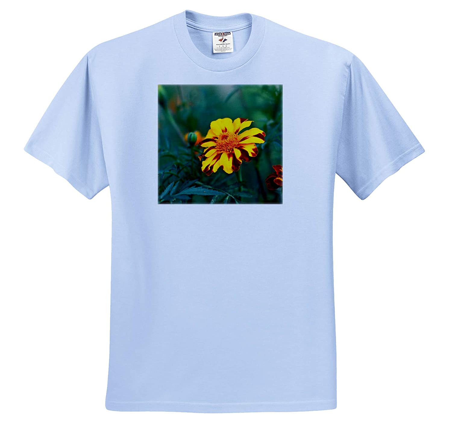 T-Shirts Yellow Flowers Marigold Summer Garden 3dRose Alexis Photography red Marigold Flower amidst The Green Leaves