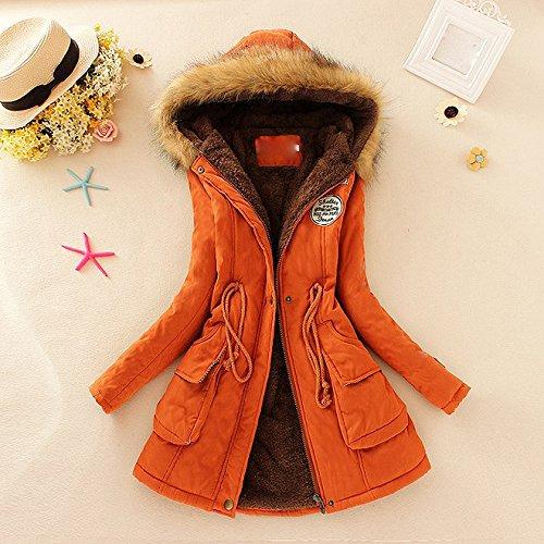 Orange Sleeve Hooded Autumn Clearance Jacket Long Slim Winter Long Pocket Fur Parka Vintage Womens Collar Coats Coat Bandage Warm Sale DEELIN Outwear OzUSx1