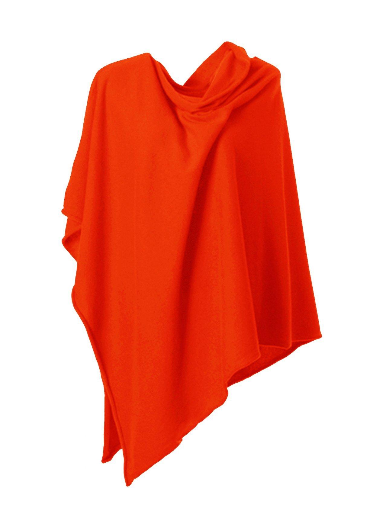Anna Kristine Asymmetrical 100% Cashmere Draped Poncho Dress Topper - Sunrise Orange