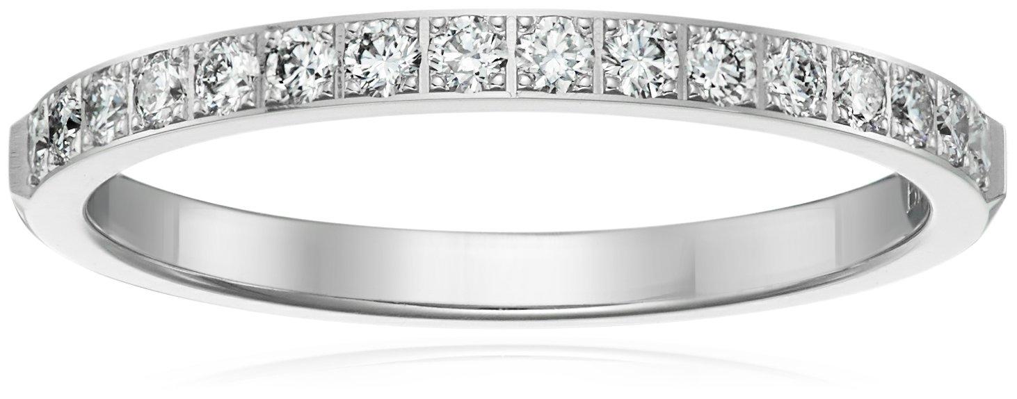 14k White Gold 2mm Half Eternity Diamond Wedding Band (0.32, cttw, SI-1, G Color), Size 6