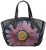 PIJUSHI Designer Floral Womens Leather Tote Top Handle Handbags 65427 (One Size, Black/Pink)
