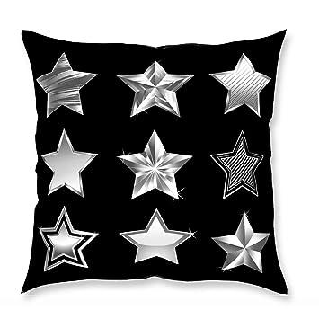 MyBUBO Silver Stars Dekokissen Kissenhülle/Kissenbezug, Stern Silber Schwarz  Weiß Kissen Zierkissen 40x40cm