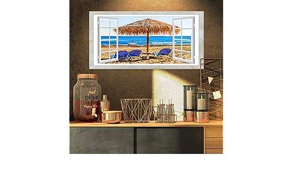 Diseño Arte Ventana Abierta a, diseño de caseta de playa con sillas XL de playa lienzo, 32 x 16