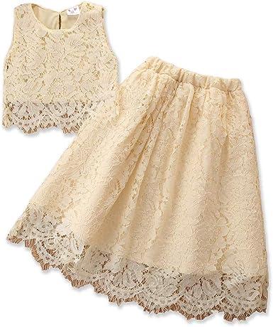Little Girl Princess Lace Dress Kids Summer Sleevless Crop Tops Shirts Long Maxi Skirt Wedding Party Clothes