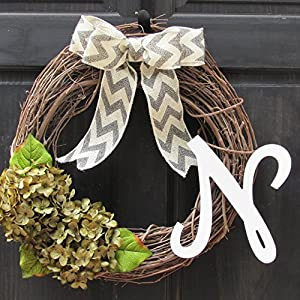 Year Round Wreath for Personalized Spring Everyday Front Door Decor; Monogram Initial Choice; Green Faux Hydrangeas 4