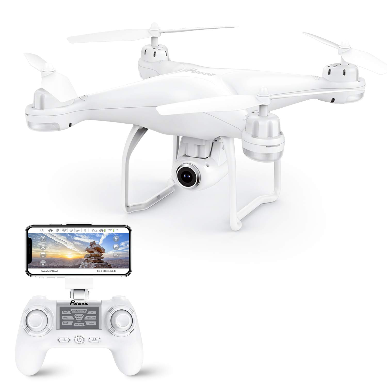 Potensic T25 GPS Drone, FPV RC Drone with Camera 1080P HD WiFi Live Video, Dual GPS Return Home, Quadcopter with Adjustable Wide-Angle Camera- Follow Me, Altitude Hold, Long Control Range, White by Potensic