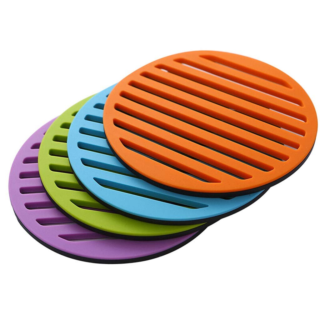 Coasters with Holder Alloy Silicone Coaster Pot Mat Bowl Mat Placemat Waterproof Anti-scalding Mat Four Color Combination Set Cup Holder Coasters by Zunruishop
