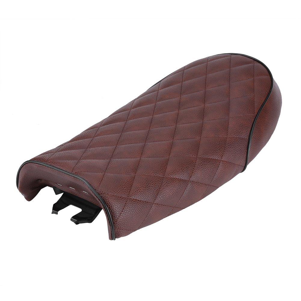 Qiilu Motorcycle PU Leather Vintage Cafe Racer Seat Flat Saddle Cushion