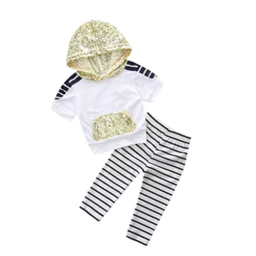 c4068bb49076 Amazon.com  Moonker Toddler Baby Girls Clothes Sequin Hooded Short ...