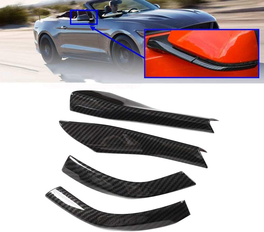 Nrpfell 4Pcs Carbon Fiber Rearview Side Mirror Base Cover Trim Decorations for Mustang 2015-2020