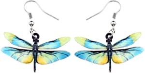 NEWEI Acrylic Novelty Flying Dragonfly Dangle Earrings Drop Hook Insect Jewelry For Women Girl Gift Charm