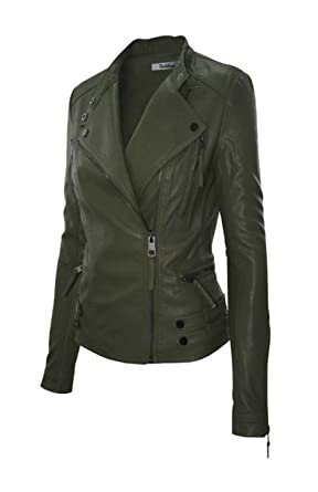 3cc8603f1 2LUV Women's Slim Tailoring Faux Leather Zipper Moto Biker PU Bomber Jacket
