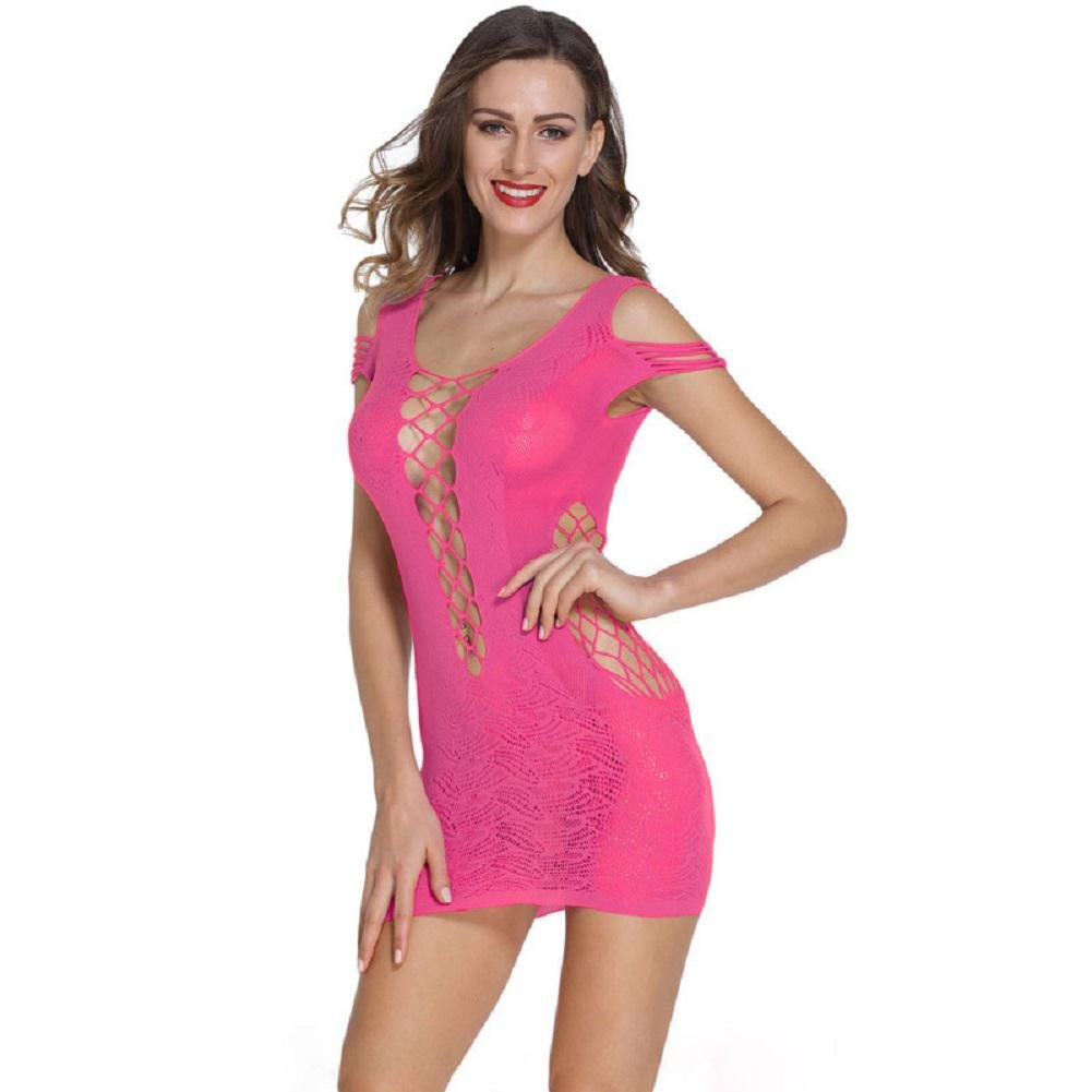 Pink OOFAY Openwork Network Hole in Women's Mesh Shirt Pajamas Pajamas Mini Lingerie