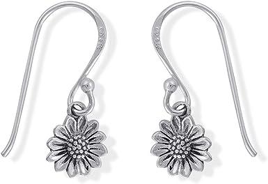 Silver Sunflower Dangle Earrings