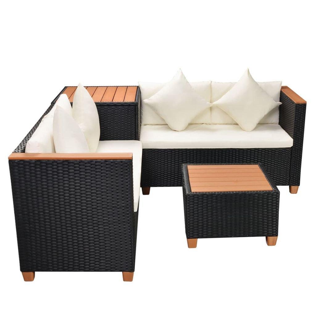 Schwarz Festnight Polyrattan Gartenm/öbel Set Gartengarnitur Sitzgruppe Lounge Garnitur 14-TLG