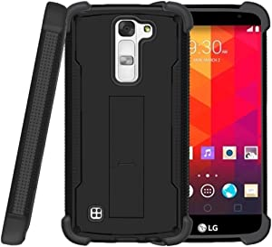 TurtleArmor   Compatible with LG K7 Case (2016)   LG Tribute 5   LG Treasure [Grip Combat] Shockproof Kickstand Defender Case Military War Robot with Tempered Glass - Black