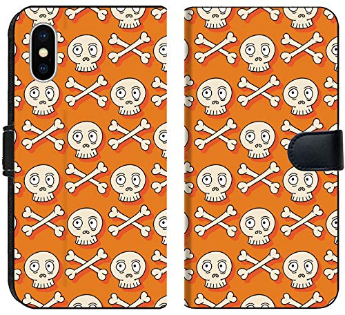 Luxlady iPhone X Flip Fabric Wallet Case ID: 44487895 Happy Halloween Hand Drawn Seamless Pattern with Skulls Trick or Treat Wrappin]()