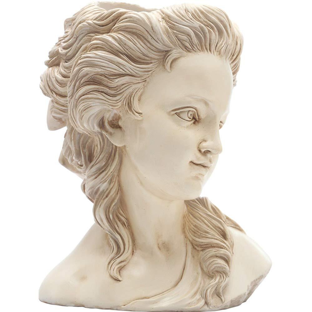 selección larga Elegant Elegant Elegant blanco SMGPY Artesanías, exhibición de Arte Retro Retrato Estatua boceto Diosa florero de Cemento Flor Olla decoración casera A  mas preferencial