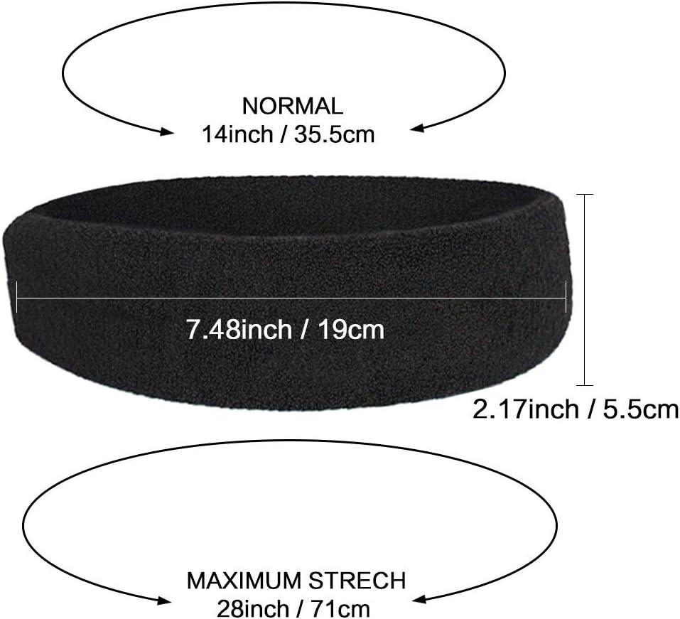 Lot de 6 Sweat Bandes Stretch épais Terry Bandeaux 3 NOIR 3 BLANC