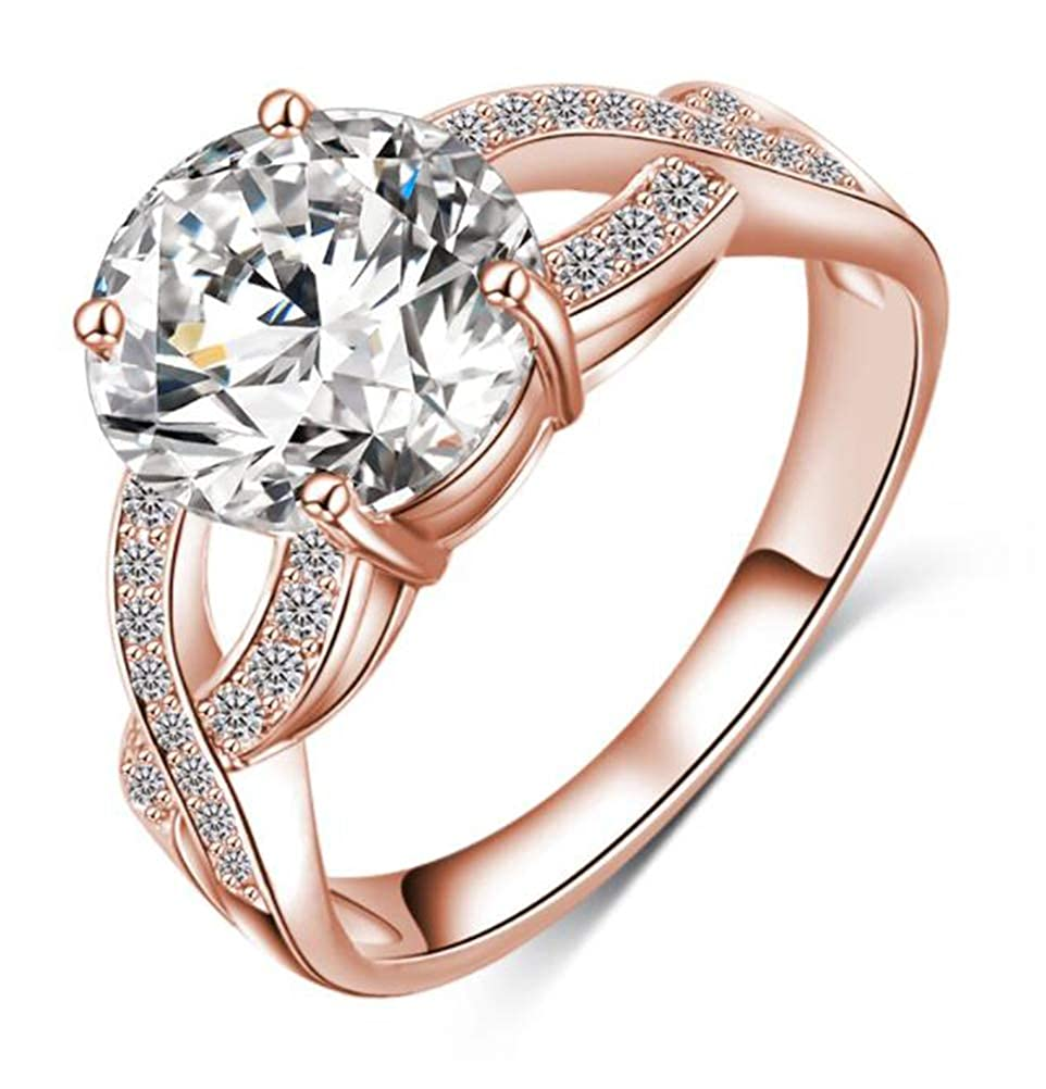 14k Rose Gold Criss Cross Twist Infinity Ring with Clear CZ,Size 5 6 7 8 9