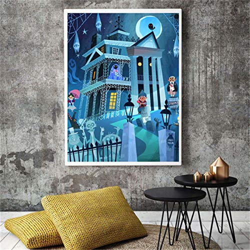 - DOLUDO Beast Cartoon Wall Art Illustrations Canvas Painting Haunted Mansion Print Wall Art Print on Canvas Pictures with Black Wooden Frame