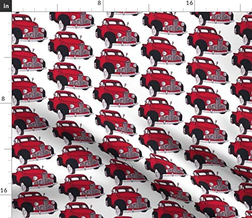 (Vintage Red Truck Fabric - M Series 1946 1947 1948 Classic Pickup Pick Up Nostalgia Mid Century Car Studebaker Motor Print on Fabric by the Yard - Modern Jersey - for Fashion Apparel Clothing with)