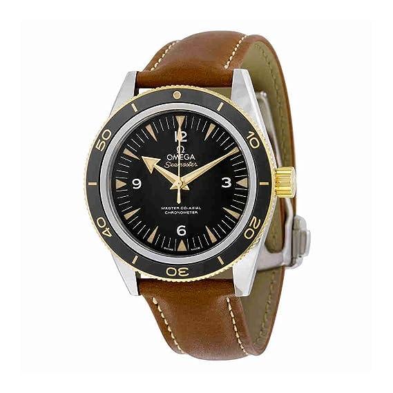 Omega de hombre 41 mm correa de cuero caja de acero automático analógico reloj 23322412101001: Amazon.es: Relojes