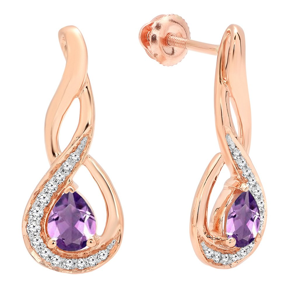 Dazzlingrock Collection 10K 5X4 MM Each Pear Cut Amethyst & Round Cut Diamond Infinity Drop Earrings, Rose Gold by Dazzlingrock Collection