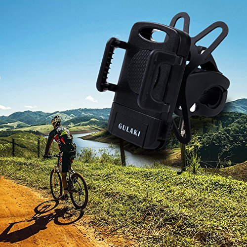 Bike Phone Mount Holder, GULAKI Universal Motorcycle Handlebar Mount,Cradle Clamp for iPhone 7/6 Plus/5/5S/5C/4/4S Samsung Galaxy S6/S5/NOTE 5/4 Motorola Droid RAZR HTC One X LG GPS Holder (Black)