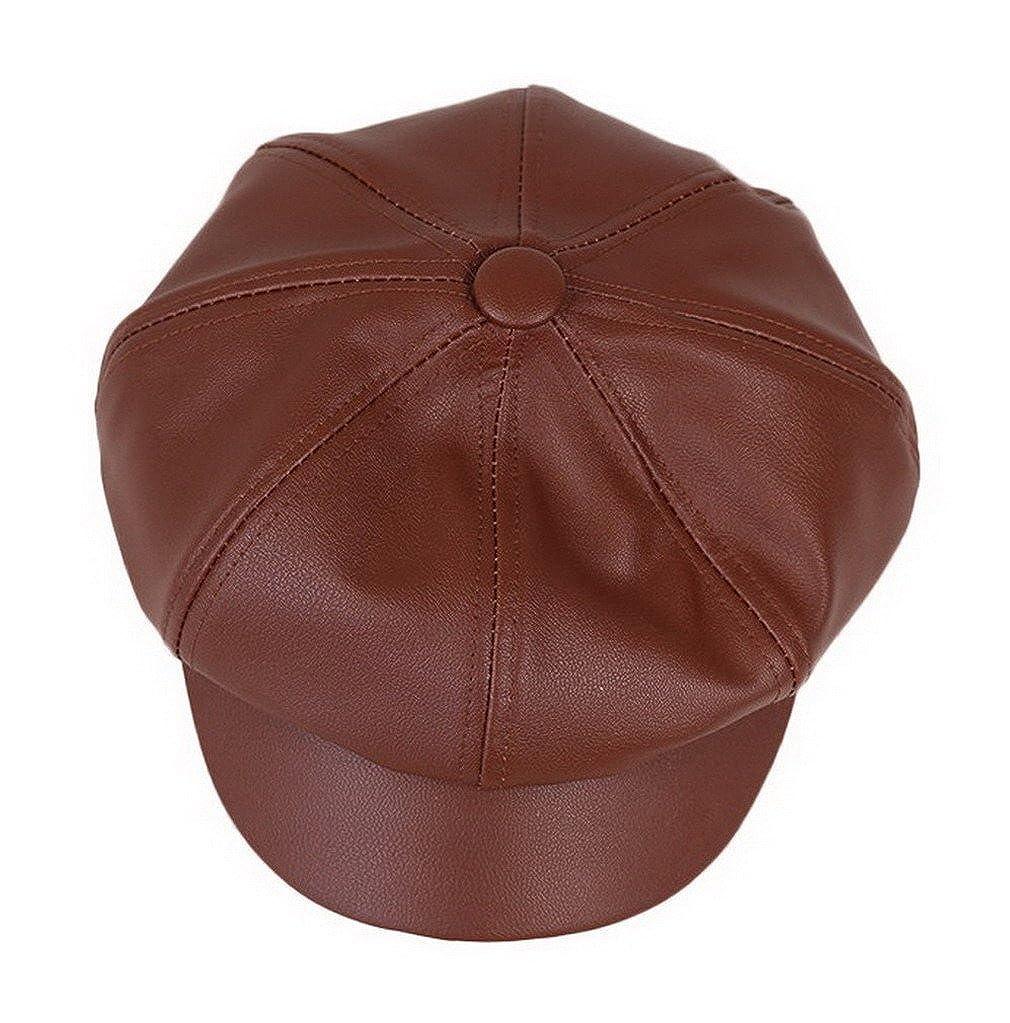 938b1ca6343 Bigood Women Fashion PU Leather Solid Ascot Ivy Newsboy Cap Berets Brown at  Amazon Women s Clothing store