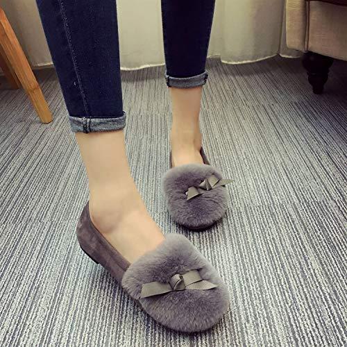 Grigio Grigio Knot Casual Slip Furry 37 Ballet Shoes Dimensione Women Flats Eu Zhrui On colore 6ZavqxF