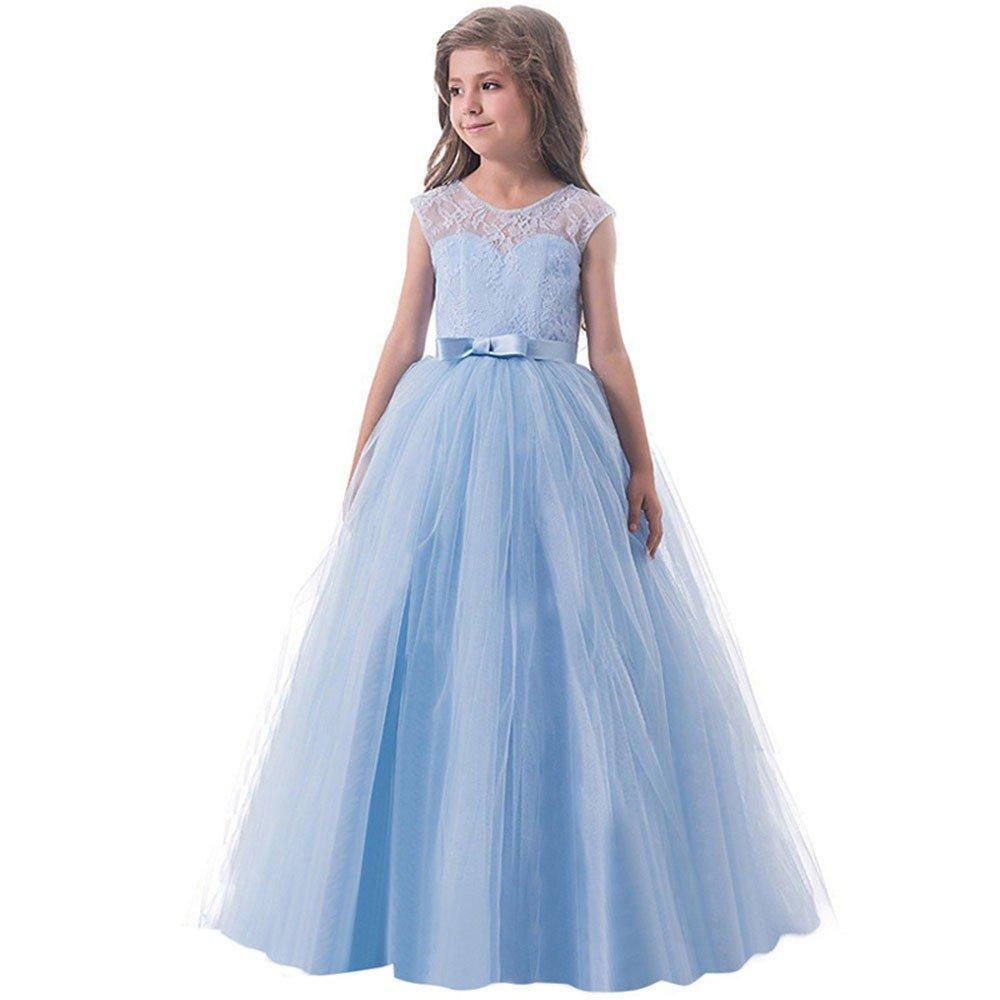 Longra Abiti Bambini Senza Maniche Ragazze Vestito Tulle Gonne Tutu Partito Compleanno Elegante Vestito della Principessa Fantasia Abito da Sposa 5-7 Anni
