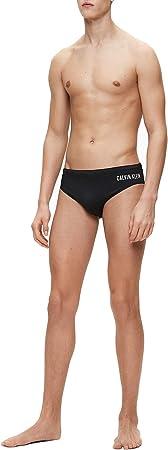 Calvin Klein Lado Logotipo Hombres Nado Breve, Negro