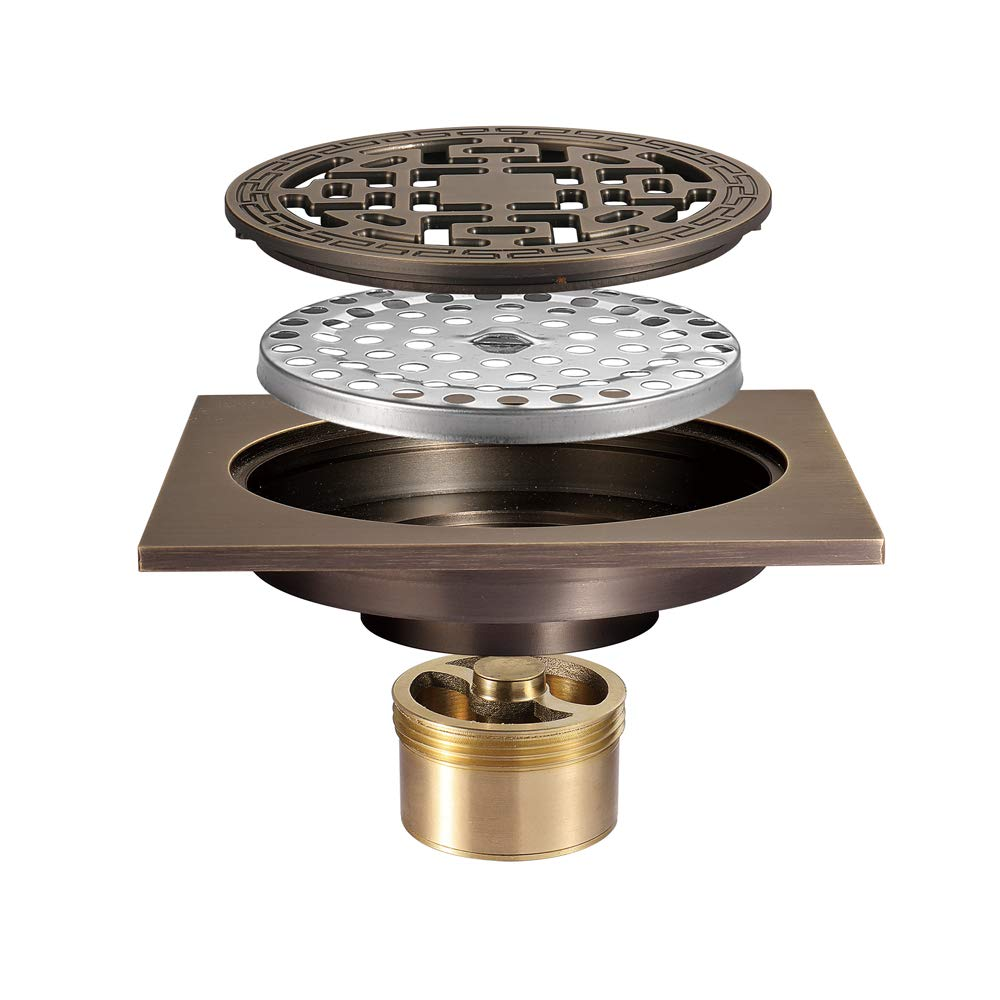 Pure Cupper Floor Drain Antique Style Tile Insert Square Shower Floor Drain 4-Inch Insect Proof, Anti-Backwater And Deodorant Floor Drain Anti-Clogging