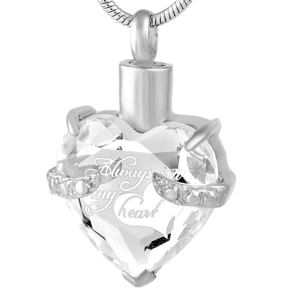 Cremation Jewelry Glass Heart Memorial Keepsake Urn Necklace For Ashes- Always In My Heart (White1)