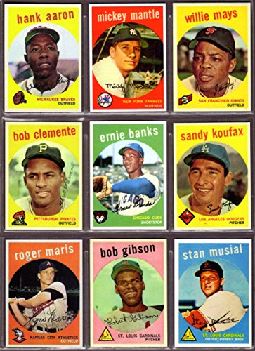 1959 Topps Baseball (9) Card Reprint Lot (Hank Aaron) (Mickey Mantle) (Willie Mays) (Roberto Clemente) (Ernie Banks) (Sandy Koufax) (Roger Maris) (Bob Gibson) (Stan Musial)