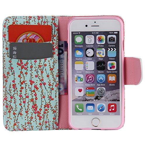 """iPhone 6 / iPhone 6S (4.7"""") Coque , Apple iPhone 6 / iPhone 6S (4.7-inch) Coque Lifetrut® [ Fleurs ] Luxe Premium Portefeuille Flip mignon Coque TPU souple Folio en cuir PU intégré dans la carte Slots"""