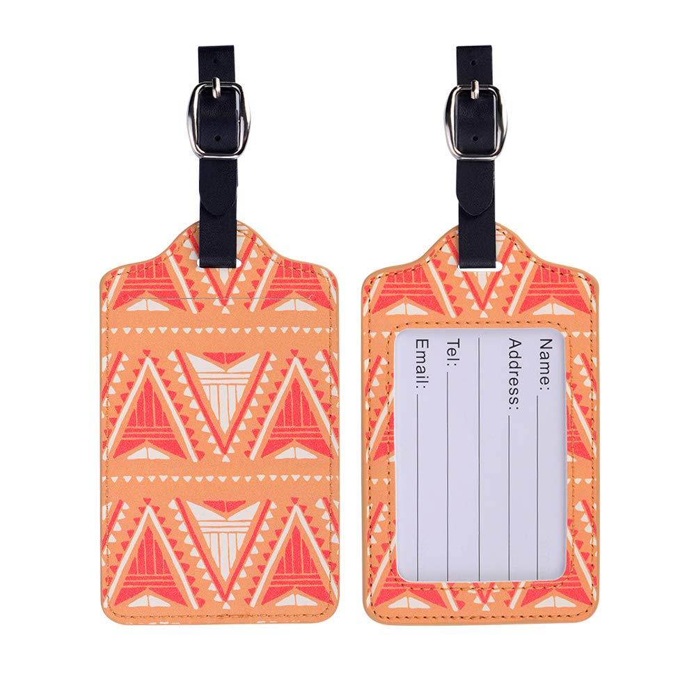 /Étiquettes de Bagage /étiquettes en Cuir didentification de nom de Famall pour la Valise de Sac de Voyage Mod/èle 3 2 Pack