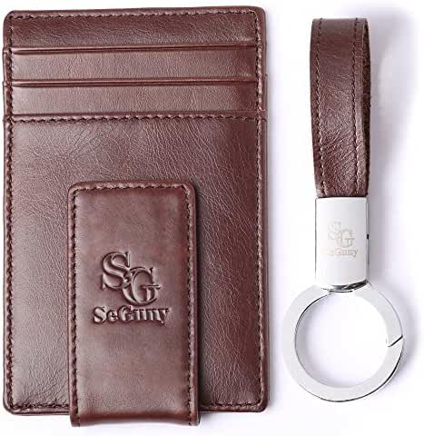 Leather Money Clip Minimalist Wallet - Front Pocket Thin Slim Card Holder RFID